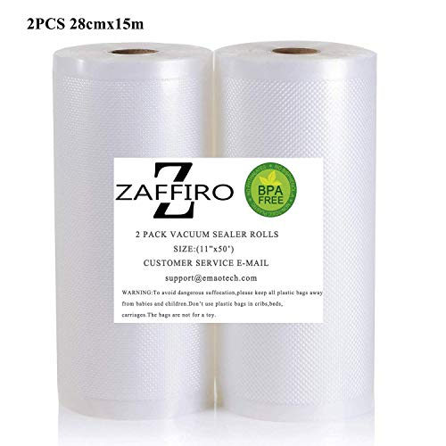 2 Vakuumrollen 28cm x 15m (Vakuumbeutel) für Lebensmittel | Vakuumier-Folie | Sous-vide | Profi-Qualität für Folienschweißgeräte -