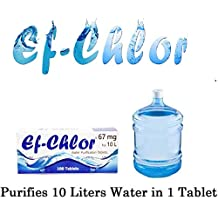 Ef-Chlor, Water Purification & Filtration Tablets (Each Tablet for 10 liters Water), 67 mg, 100 Tablets Pack (Water Purifier), 3 Years Shelf Life