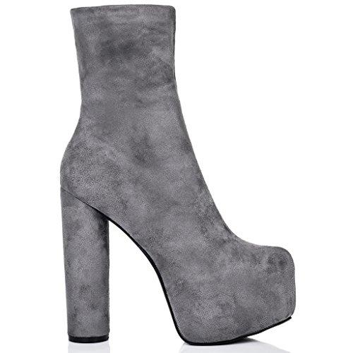 SPYLOVEBUY RUFFLE Femmes Plateforme à Talon Bloc Bottines Chaussures Gris - Simili Daim