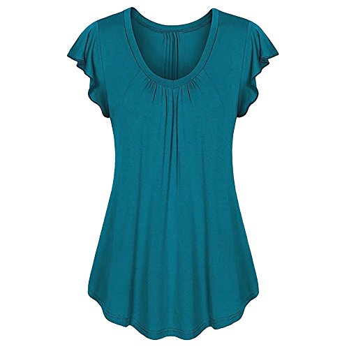 MRULIC Neu Damen Rundhals Geripptes Sleeve Casual Falten Kurzarm T-Shirt mit Stretch Top(B1-Dunkelblau,EU-38/CN-S) (Rot Und Weiß Gestreiftes Shirt Ziel)