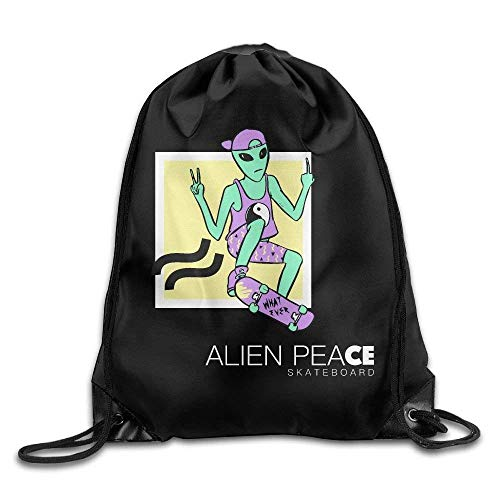 FTKLSS Lightweight Foldable Large Capacity Gym Drawstring Bag Backpack New Alien Peace Skateboard Alien Workshop Decks Art Design Print Rucksack Shoulder (Anime Skateboard Deck)