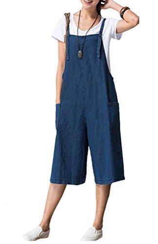 Voguees Damen Hosenträger Wide Leg Jeans Jumpsuit L Blau - Wide Leg Cuff Hose