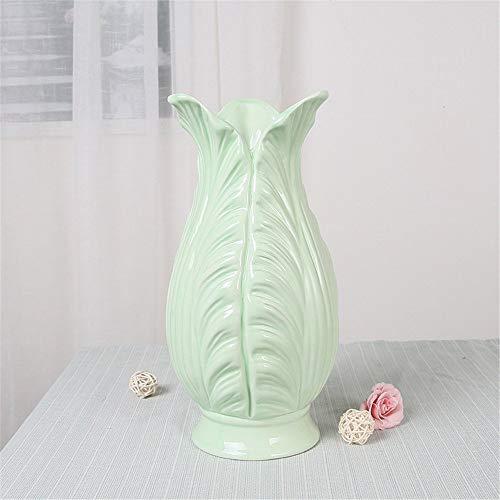 Mon5f Home Moderne Glasierte Keramikvase, Weiß, Kleine Größe 21 cm Für Mittelstücke Wohnzimmer Weihnachten Geburtstag Hochzeit Geschenk Desktop Home Decor (Color : Green, Size : Medium Size 26cm)