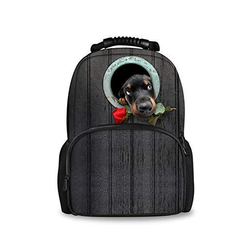 fhdc Zaino 3D Rose Dog Women Spalla Per Donna Borsa Per Animali Zaini Per Scuola Per Bambini ZainoC0171A