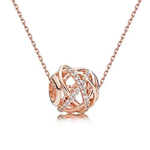 ZGY S925 Silber Halskette, japanische Temperament Diamanten Galaxy String Halskette Mode-Accessoires,Gold