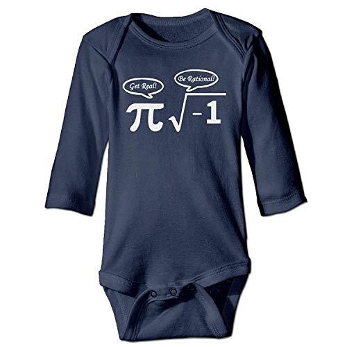 MSGDF Unisex Infant Bodysuits Nerd Geek PI Girls Babysuit Long Sleeve Jumpsuit Sunsuit Outfit Navy