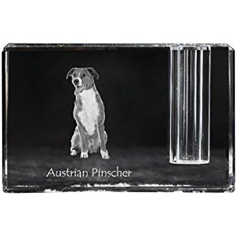 Pinscher austriaco, Supporto della penna di cristallo con il cane, ricordo, scrivania accessorio, in edizione limitata