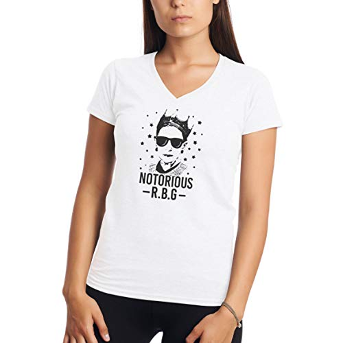 Notorious RBG Queen of Feminism Ruth Bader Ginsburg Blanca Camiseta para Mujer con Cuello V Shirt L