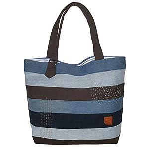 Denim Tote Bag Jeansstoff Shopper Tasche Damentasche aus alten Jeans mit weißen Nähten Handtasche Damen Alltag Shopping…