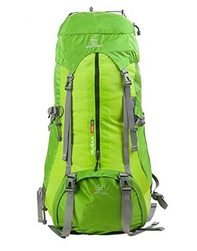 modelli maschili e femminili sacchetti esterni di alpinismo borsa da viaggio borsa a tracolla pacchetto di trekking professionale ( Colore : Yellowish Brown , dimensioni : 50+10L ) Verde