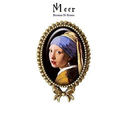 Bague * La jeune fille à la perle * peinture bijou cabochon bronze bleu verre