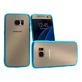 iCues Schutzhülle kompatibel mit Samsung Galaxy S7 Edge Türkis Klar Transparent