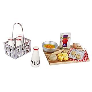 D DOLITY Dollhouse Miniature Baking Food On Board & Milk Bottles Basket Kitchen Accessories