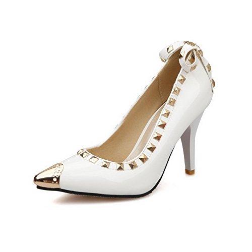 Senhoras Agoolar Estilete Desenhar Puramente Em Bombas Dedo Apontado Sapatos Brancos