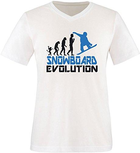EZYshirt® Snowboard Evolution Herren V-Neck T-Shirt Weiss/Schwarz/Blau