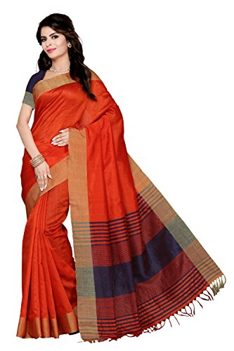 Rani Saahiba Synthetic Saree (Prg8_Rust - Blue)