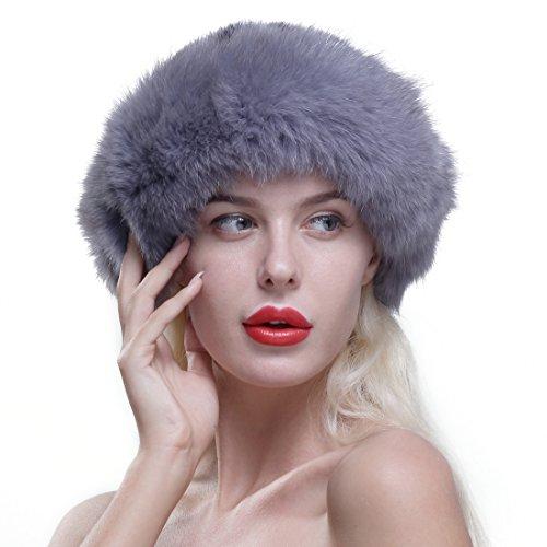 URSFUR Chapeau Melon En Fourrure De Renard Femme Bonnet Fourrure Hiver Gris
