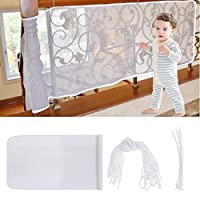 Faburo Child Safety Stairs Net Balcony Railing Safety Net for Baby Children Pet Toys: 1pcs White Safety Net, 25pcs Binding Ropes, and 15pcs Plastic Cable Ties