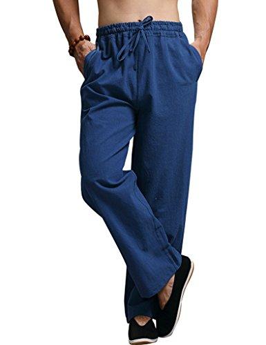 Youlee Uomo elastico in vita Cotone pantaloni di lino Deep