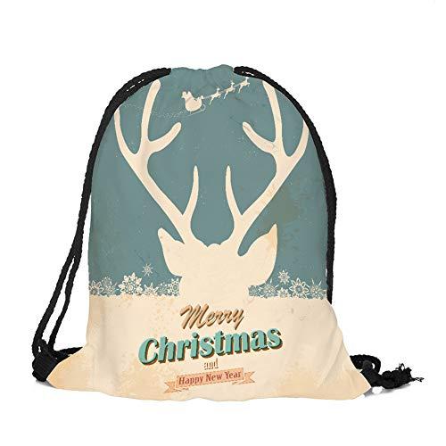 sche Weihnachtsthema Hängende Tasche Beutel Hanf Gebündelt Kordelzug Tee Geschenk Taschen Lagerung Tasche Kosmetiktaschen Aufbewahrung Organizer (Elch 1) ()