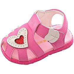 Zapatos de Verano para Bebé Yesmile Zapatos con Corazón para Recién Nacido Niñas Zapatillas de Deporte Antideslizante Suave Sandalias con Perla (18, rosa fuerte)