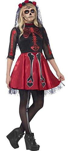 (Generique - Rotes Skelett Kostüm für Junge Erwachsene - Halloween)