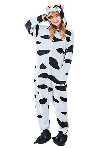 Unisex Erwachsene Pyjama Jumpsuit Kuh Kostüm Onesie Schlafanzug Hausanzug Overall Größe M (Kühe Kostüm)