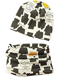Boomly Bebé Niño Algodón Sombrero De Beanie + Conjunto De Bufanda Otoño Invierno Impresión Collares Bufanda Conjunto De Bufanda De Sombrero De Bebé