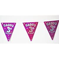 Happy 3rd Birthday Flag Bunting Age Girls Pink Kids Banner Partyware Decorations