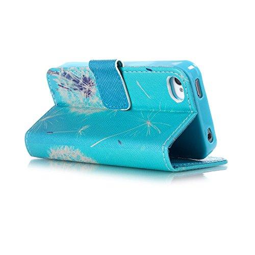 Etche Flip Case pour iPhone 4,Housse en cuir PU pour iPhone 4s,Coque pour iPhone 4,Wallet Case pour iPhone 4s,Titulaire Card Slot Folio couverture pour iPhone 4,Colorful cuir imprimé souple PU stand c pissenlit blanc