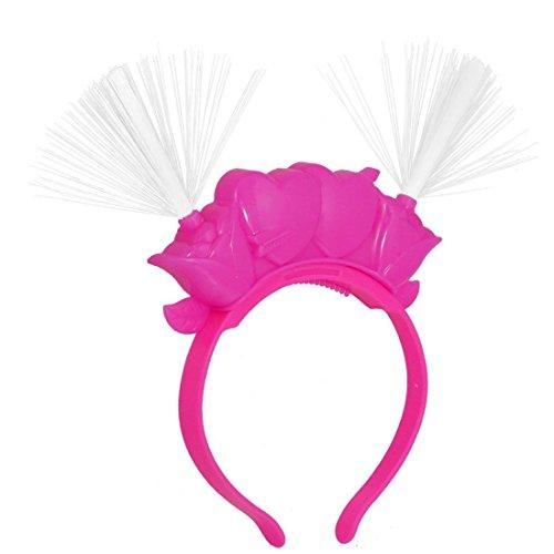 DealMux Herz Pfeil Blume Decor 2 LEDs Red Blue Light Blitzkopf Draht Stirnband Fuchsie