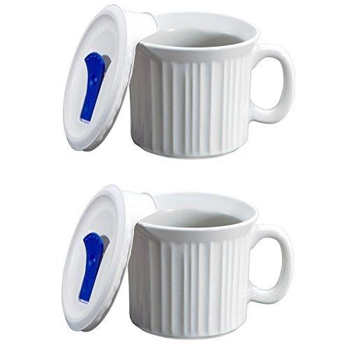 Corningware Country Cottage Suppen Tasse mit Deckel belüftet Mikrowelle 20-oz–2Pack (20 Oz Essen)