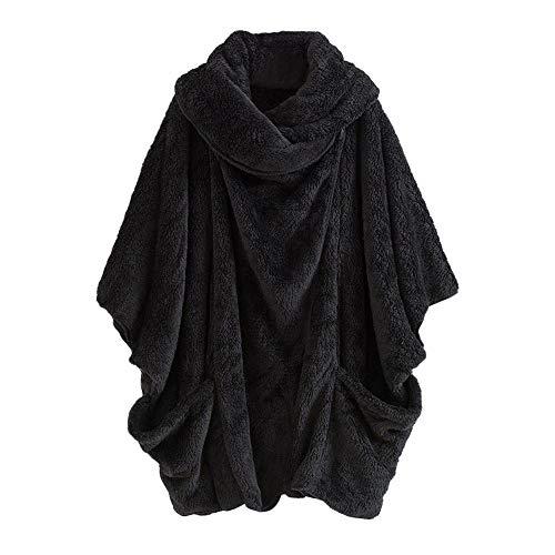 Damen Herbst Winter Jacke Pullover Plüsch Langarmshirt Sweatshirt Fledermaus Ärmel Rollkragen...