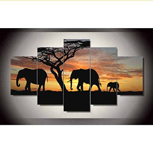 Gwgdjk 5 Piezas Impresión De La Lona Familia De Elefantes En Sunsetting...