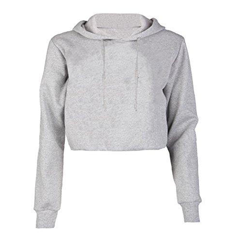 Yeesea Damen Lange Ärmel Solide Beiläufig Kapuzenpulli pull Crop Tops Sweatshirt Hoodies Grau