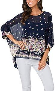 Vanbuy Womens Summer Printed Batwing Sleeve Top Chiffon Poncho Casual Loose Sheer Blouse Shirt
