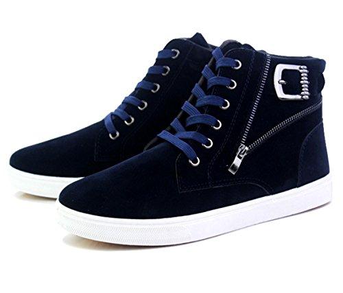 WZG Herren High-Top Schuhe Herrenmode lässig dicke Kruste Martin Stiefel kurze Stiefel Schuhe Hip-Hop Blue