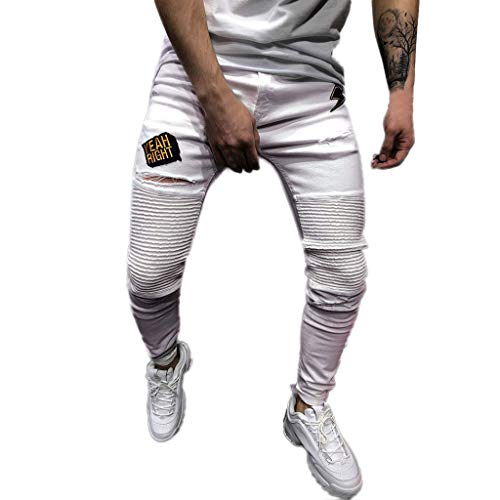 Plissee Denim Pant (SANFASHION Herren Skinny Stretch Denim Pants Plissee Ripped Freyed Slim Fit Jeans Hose)