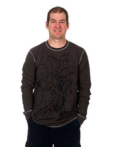 Mens Long Sleeve Thermal Tee (Hybrid Vintage Herren Graphic Bedruckte Tee Thermo Long Sleeve Style Shirt Rundhalsausschnitt Pullover, Herren, Tree 2, X-Large)