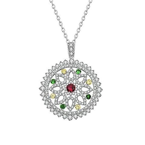 Epinki Damen Halskette, Damenkette Vergoldet Halsketten Kettenanhänger Glück Anhänger Schicksalsrad Weiß CZ Rund Kristall