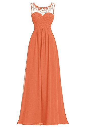 Bbonlinedress Robe de cérémonie Robe de demoiselle d'honneur col rond sans manches longueur ras du sol Orange