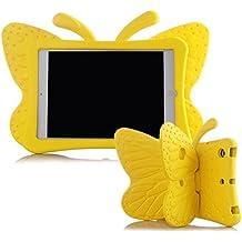 UCMDA - Carcasa infantil para iPad Mini, bonito diseño en forma de mariposa, a prueba de golpes, con función atril, compatible con tablet iPad Mini 1 / 2 / 3 / 4 de Apple (de 7,9 pulgadas), en rosa y rojo amarillo iPad Mini 1/ 2/ 3/ 4