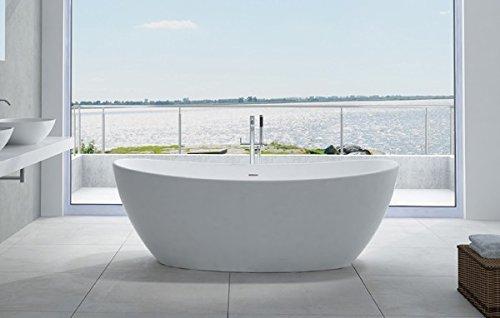 Bernstein Badshop Freistehende Badewanne aus Mineralguss HAWAII STONE - 180 x 85 cm - Wählbar in Matt oder Hochglanz, Ausführung:Matt