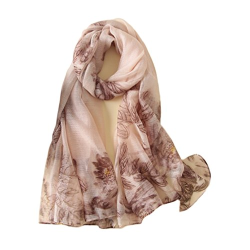 GRACE BOUTIQUE® Scarves Collection - Women Luxurious Silk Wool Blend Wrap Shawl Scarf with Beautiful Floral Print