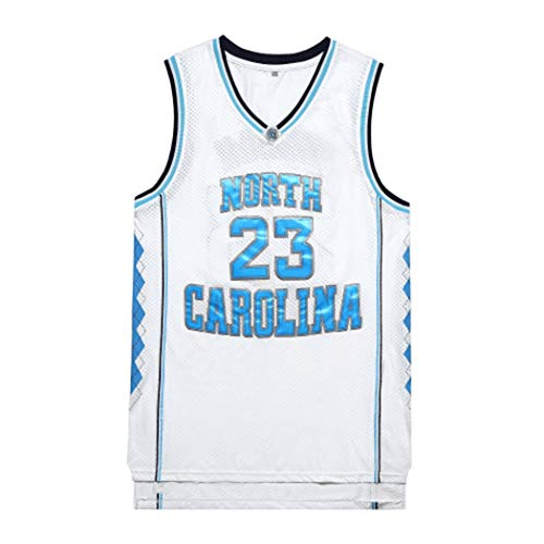 Michael Jordan # 23 Männer Basketball-Jersey, Universität von North Carolina Saison Uniform, NCAA Swingman Ärmeln Unisex, S -XXL (Color : White, Size : XL)