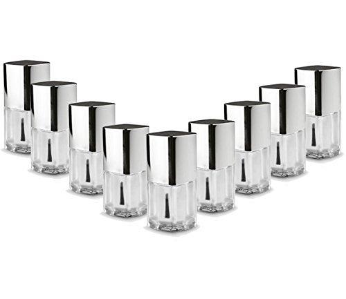 nagellackflaschen verre transparent / capuchon argent vide 15 ml - 10 pièces