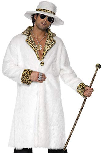 Smiffys, Herren Pimp Kostüm, Fellimitat Mantel, Hut und Hose, Größe: M, 38135 (Pimp Mantel Kostüm)
