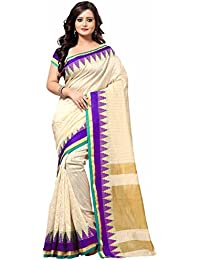 Saree For Women's ( Fashion Care Art Silk Printed Saree With Blouse Color Beige :: Purple Ideal For Women's KCVHOSSSBPPurple)
