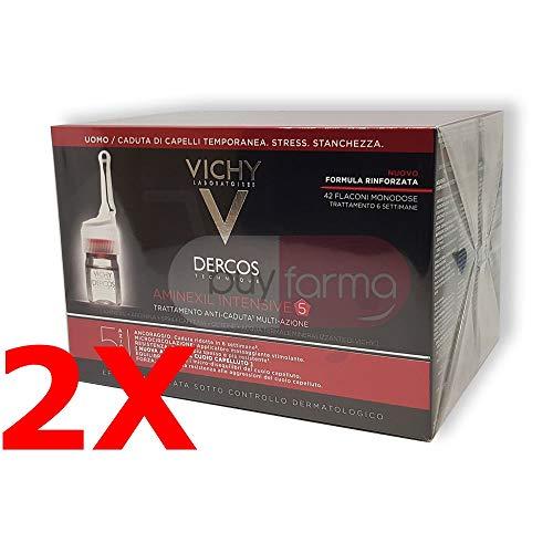 2X Vichy Aminexil Intensive 5 Dercos - Trattamento Anticaduta Uomo 84 Fiale - 3 Mesi di Terapia