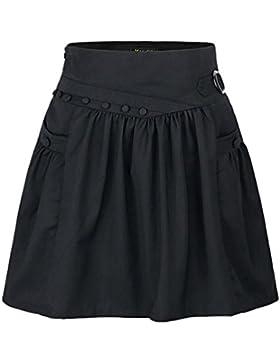 ZhiYuanAN Mujer A Línea Falda Plisada De Cintura Alta Color Sólido Talla Grande Falda Acampanada Salvaje Casual...